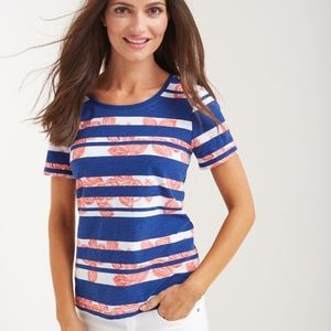 Tommy Bahama Striped-Floral Short Sleeve Top